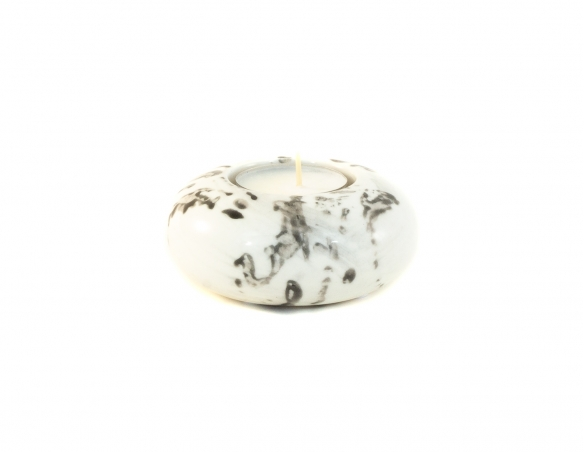 Bougeoir effet marbre blanc - ø 9cm