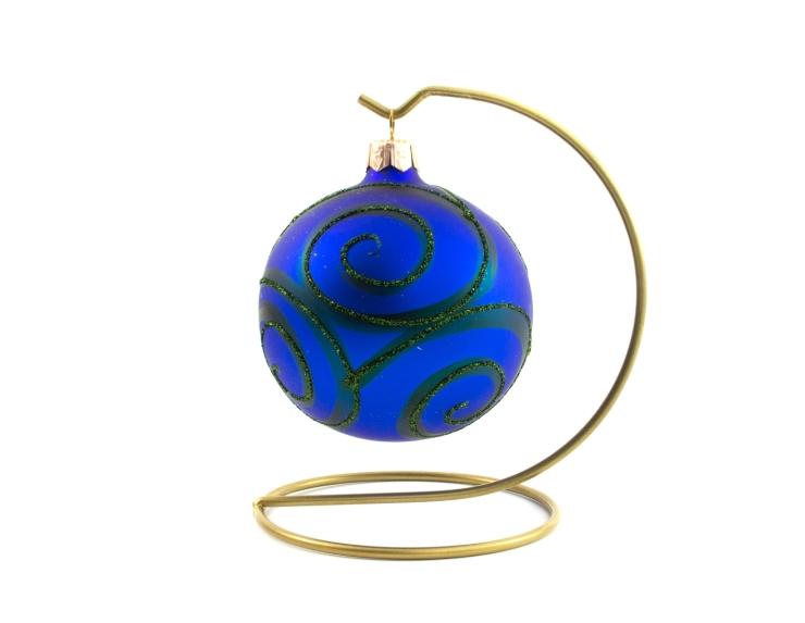 Boule de Noël bleu roi décor spirales vertes   ø 8cm