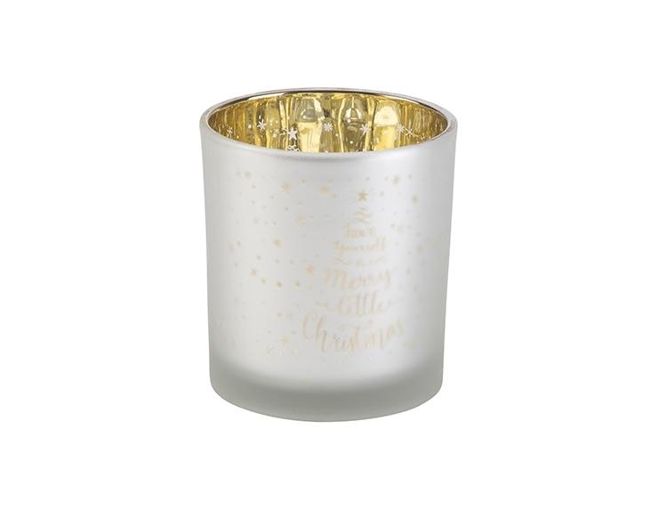 Bougeoir Christmas blanc mat et or en...