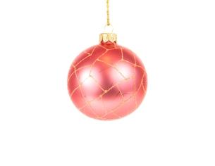 Boule de Noël corail mat effet craquelures pailletées - ø 8cm