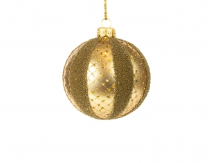 Boule de Noël doré décor bande or - ø 8cm