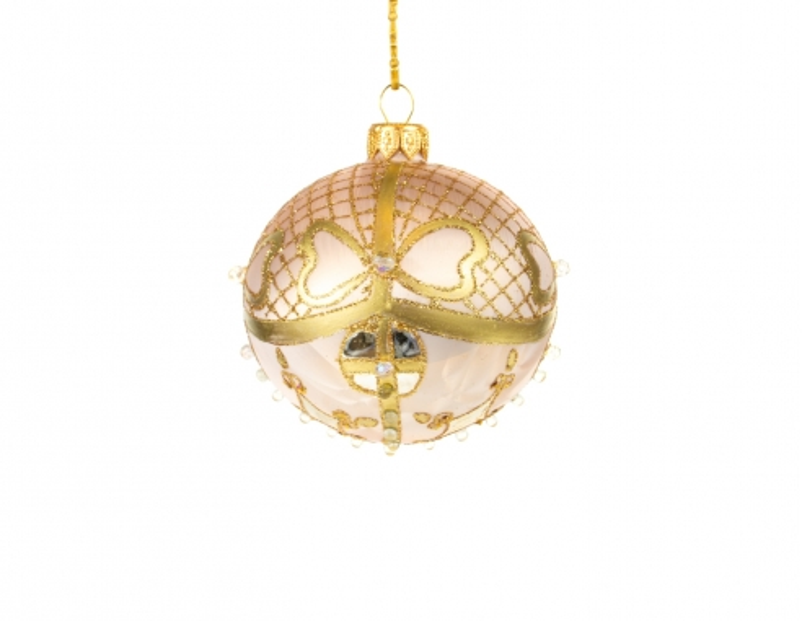 Boule de Noël rose poudré mat style orientale - ø 8cm
