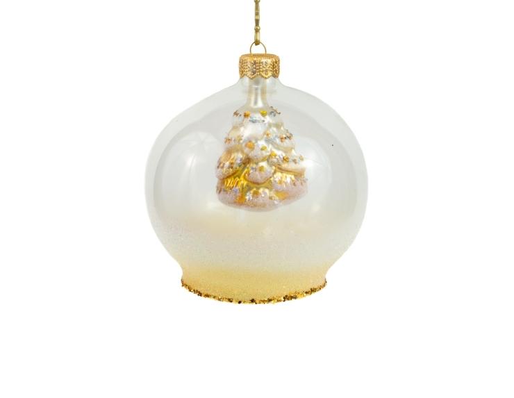 Boule en verre transparente cloche avec sapin à l'intérieur