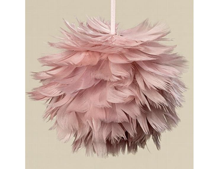 Boule de Noël plumes roses D11...
