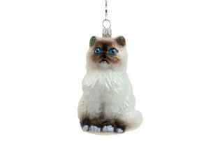 Suspension de noël chat blanc en verre