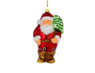 Figurine Père-Noël en verre avec sapin
