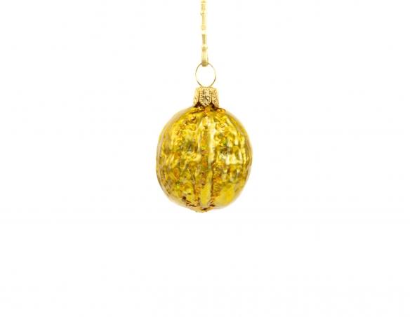 Suspension de noël en verre soufflé en forme de noix dorée