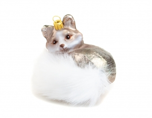 Suspension renard en verre soufflé avec (fausse) fourrure