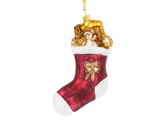 Suspension chaussette de Noël en verre