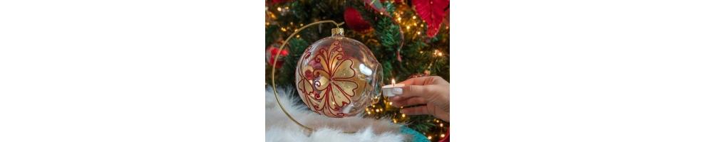 Boules de Noël photophores en verre - 15cm